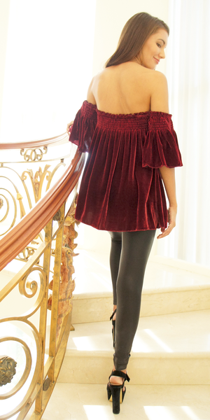 Red Off Shoulder Silk Velvet Top