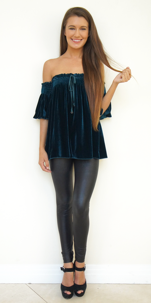 Teal Blue Off Shoulder Silk Velvet Top