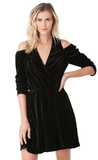 Black Cold Shoulder Silk Velvet Mini Dress