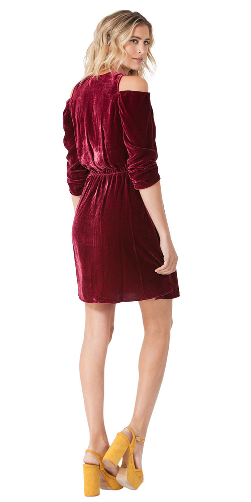 Cranberry Red Cold Shoulder Silk Velvet Mini Dress