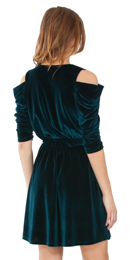 Teal Cold Shoulder Silk Velvet Mini Dress