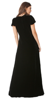 Black Flutter Sleeve Silk Velvet Maxi Dress