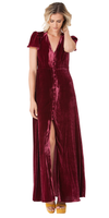 Red Flutter Sleeve Silk Velvet Maxi Dress