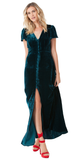Teal Flutter Sleeve Silk Velvet Maxi Dress