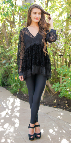 Back Long Sleeve Silk Lace Tunic