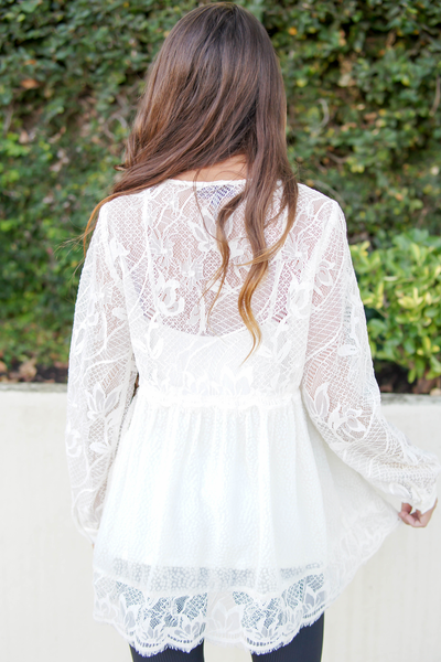 Ivory Long Sleeve Silk Lace Tunic