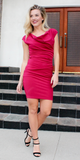 Red Fitted Crepe Cowl Neck Dress