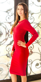 Red Keyhole Crepe Knit Dress