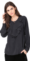 Black Ruffled Silk Blouse