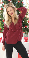 Wine Red Ruffled Silk Blouse
