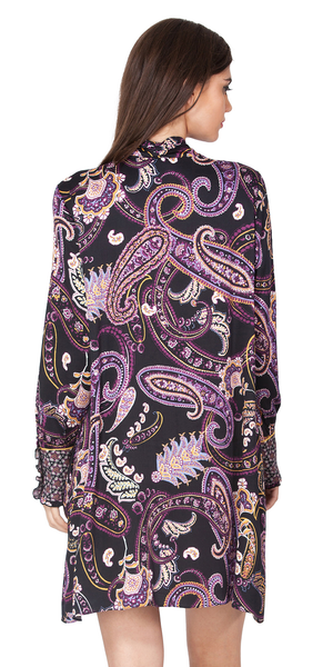 Purple Paisley Satin Shirt Dress