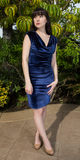 Navy Blue Fitted Velvet Dress