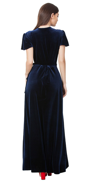 Black Velvet Wrap Maxi Dress