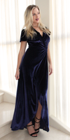 Navy Velvet Wrap Maxi Dress