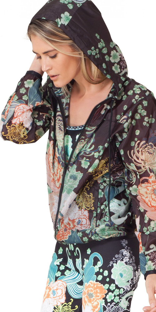Black Floral Windbreaker Jacket