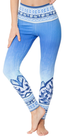 Blue Printed High Waist Leggings