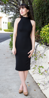 Black Sleeveless Crepe High Neck Fitted Dress