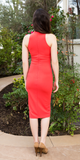 Coral Sleeveless Crepe High Neck Fitted Dress