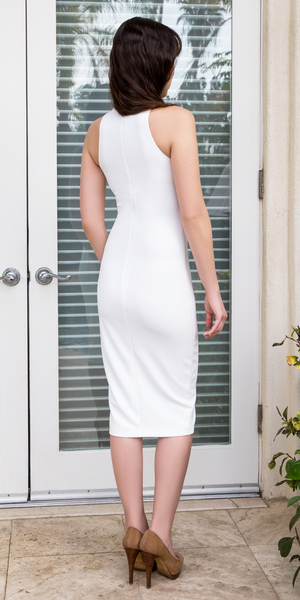 Ivory White Sleeveless Crepe High Neck Fitted Dress