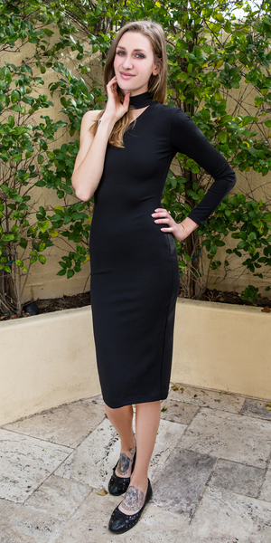 Black One Shoulder Crepe Knit Fitted Dress