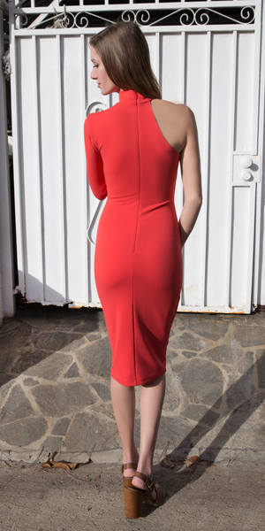 Coral One Shoulder Crepe Knit Fitted Dress