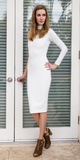 Ivory White One Shoulder Crepe Knit Fitted Dress