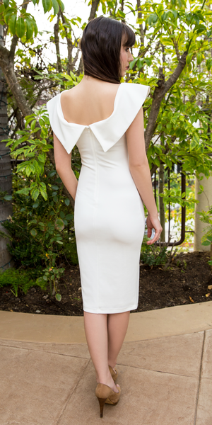 Fitted Crepe Off Shoulder Dress