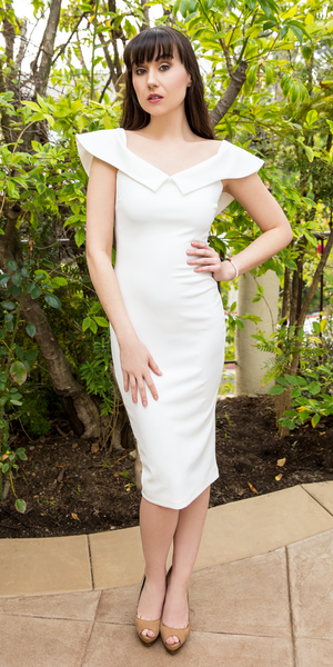White Fitted Crepe Off Shoulder Dress
