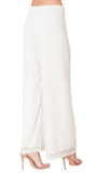 Ivory White Crochet Wide Leg Pants