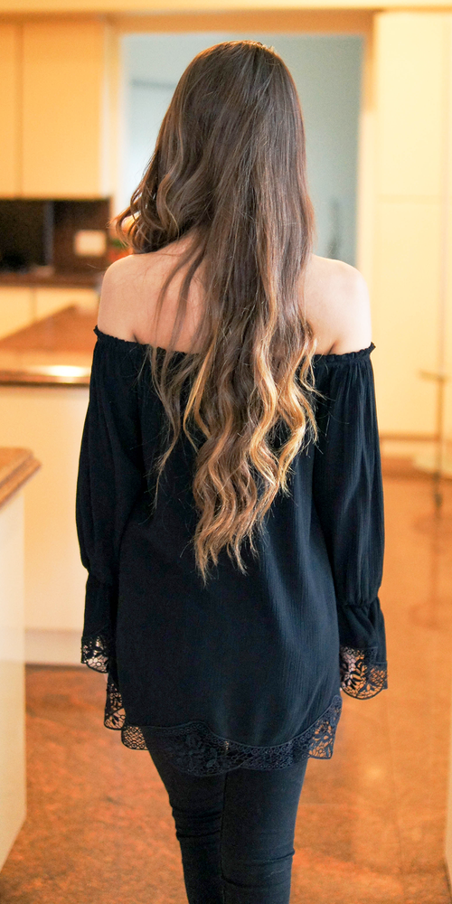 Black Embroidered Crinkle Blouse