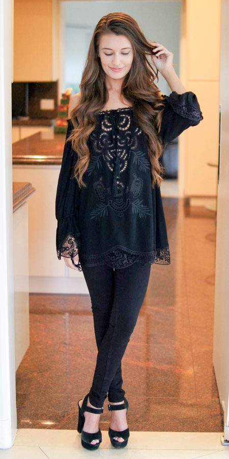 Embroidered Off Shoulder Crinkle Gauze Tunic