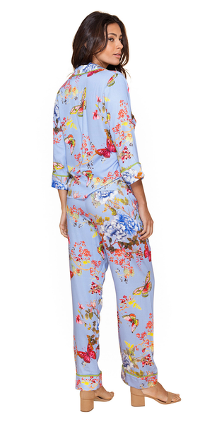Blue Floral Satin Pajama Pants