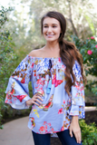 Blue Ruffled Floral Off Shoulder Blouse