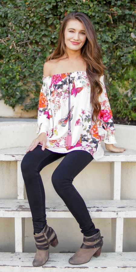 Embroidered Off Shoulder Tunic