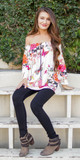 Ivory Ruffled Floral Off Shoulder Blouse