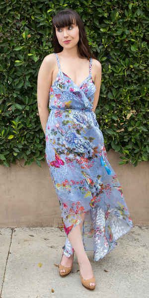 Blue Silk Floral Wrap Maxi Dress