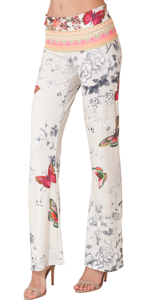Ivory Butterfly Floral Jersey Pants