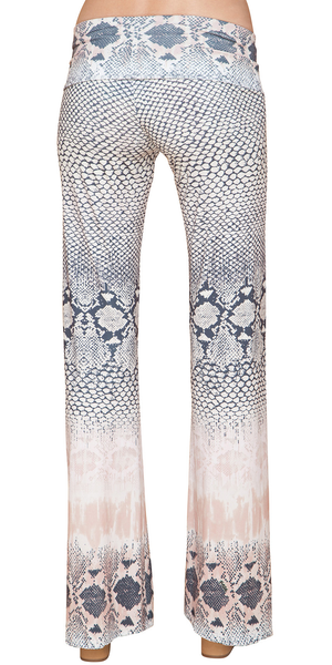 Taupe Beige Printed Jersey Flare Pants