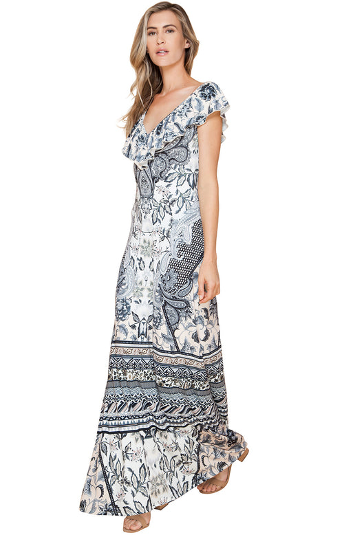 Ruffled Floral Jersey Maxi Dress