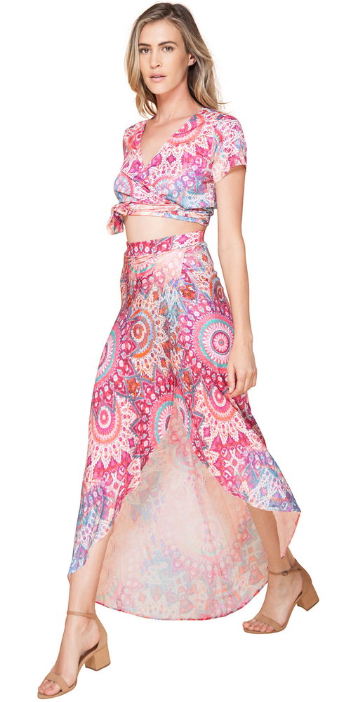Pink Printed Wrap Maxi Skirt