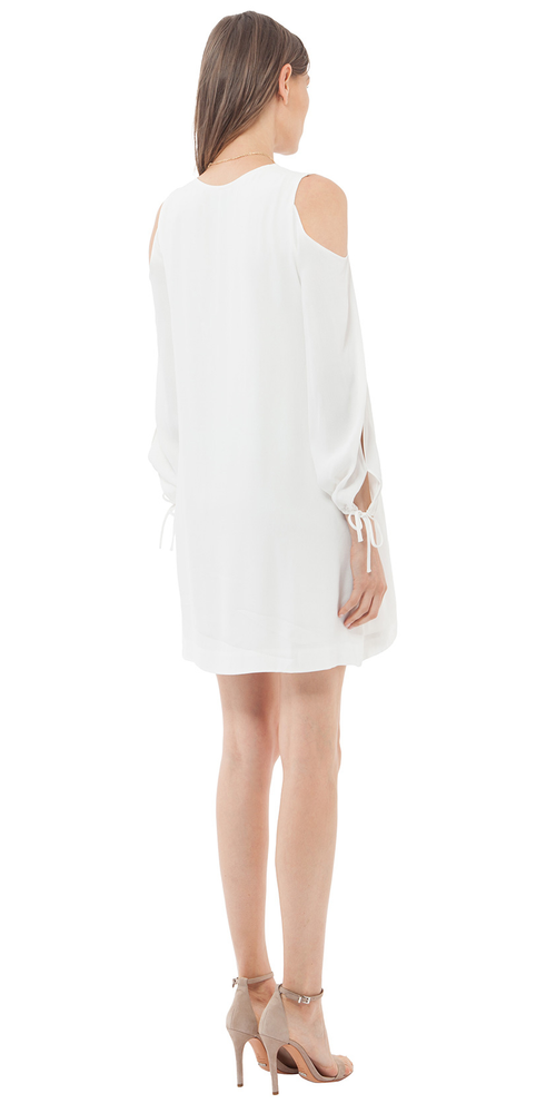 Ivory Viscose Crepe Cold Shoulder Dress