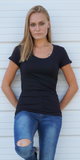 Black Scoop Neck T Shirt