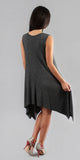Grey Sleeveless Asymmetrical Ribbed Dress