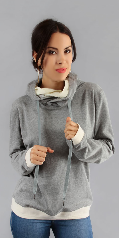 Grey Pullover Hooded Sweatshirt