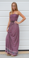 Plum Purple Tube Top Strapless Floral Maxi Dress