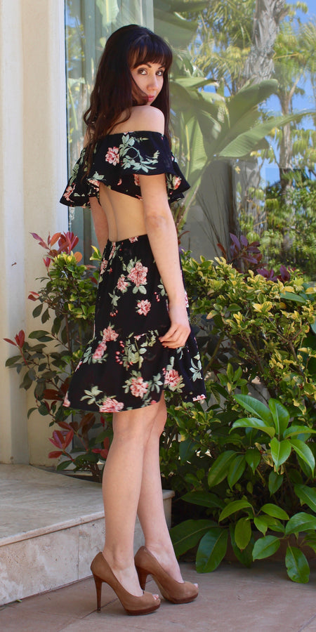 Floral Spaghetti Strap Skater Dress