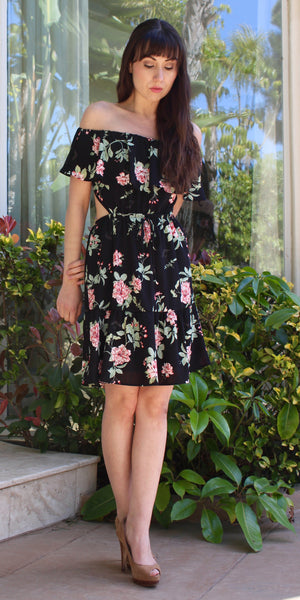 off shoulder open back black floral print dress with ruffle skirt
