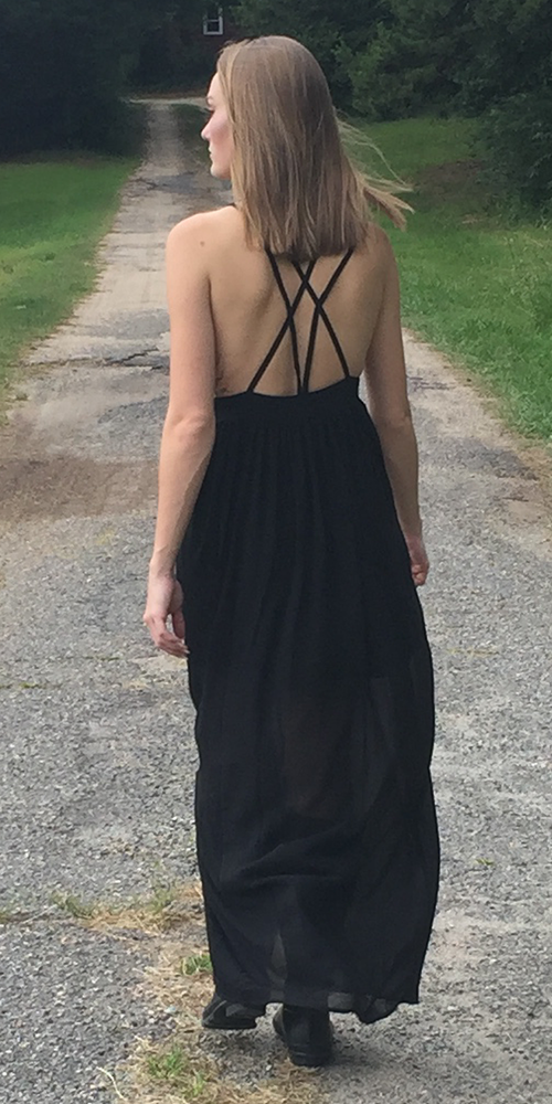 Black Strappy Chiffon Maxi Dress