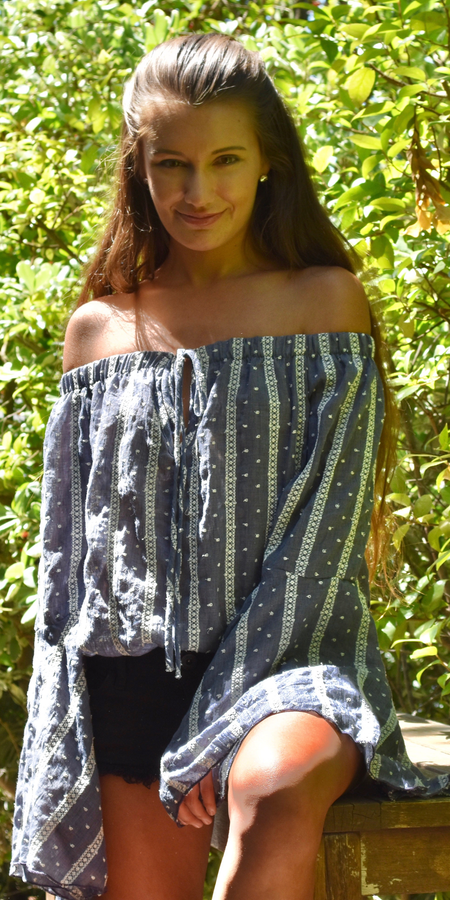 Black & White Striped Off Shoulder Tunic Top