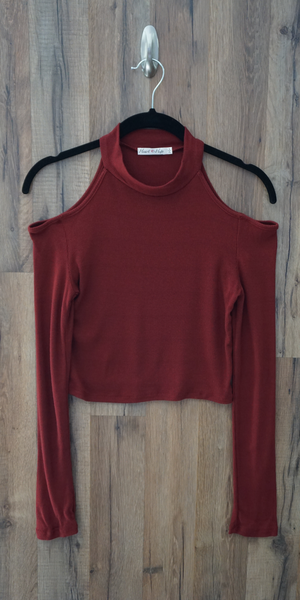 Cold Shoulder Long Sleeve Crop Top